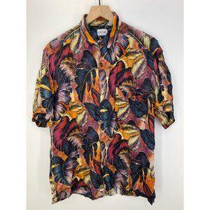 Cezar 100% Silk Short Sleeve Button-Down Shirt M